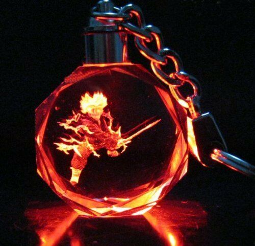 Dragon Ball Crystal Key Ring Car Keychains LED Pendant Shiny Prop Gift