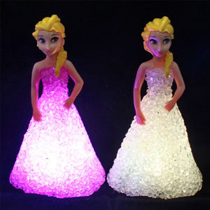 Frozen's Elsa LED Colorful Lights Gradient Crystal Night Light - LED Lamp Princess Figurine Christmas Decor Holiday Gift