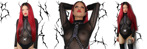 black PVC mesh chainmaille harness handmade in Detroit, MI by designer SKNDLSS, modeled by Michele Yue of NYC