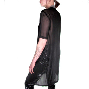 rhinestoned mesh club top handmade by detroit designer SKNDLSS. custom garment, cover up
