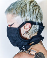 BLACK DENIM PLEATED MASK