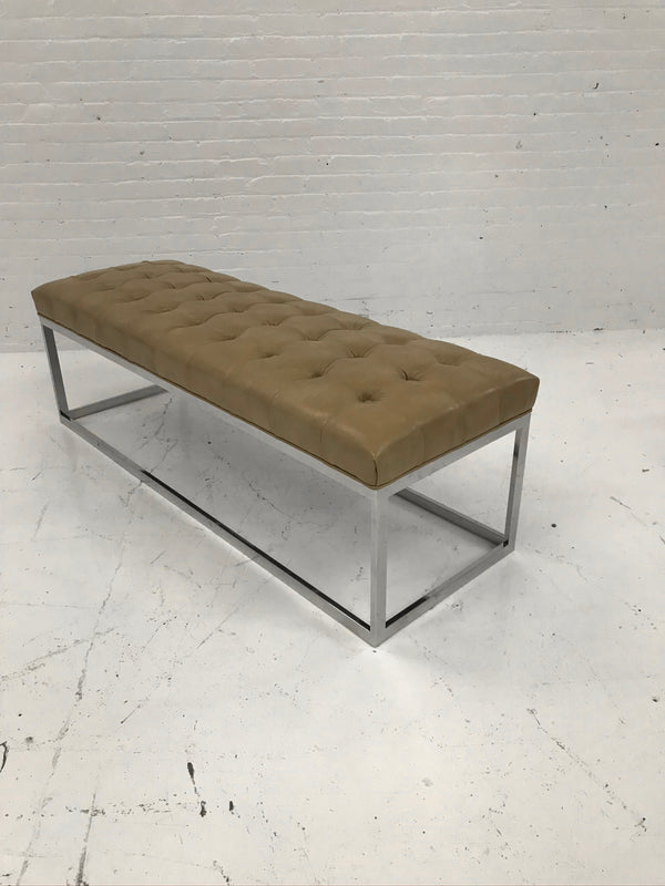 Tan Leather Bench
