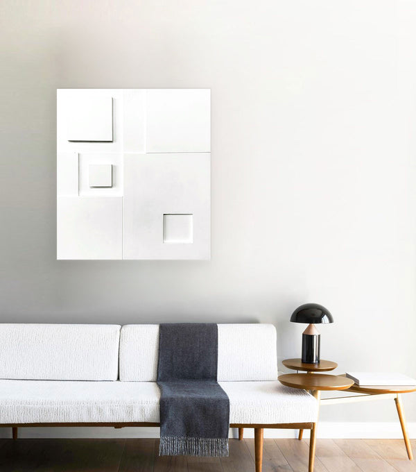 Boxed in White, Wall Sculpture - Small