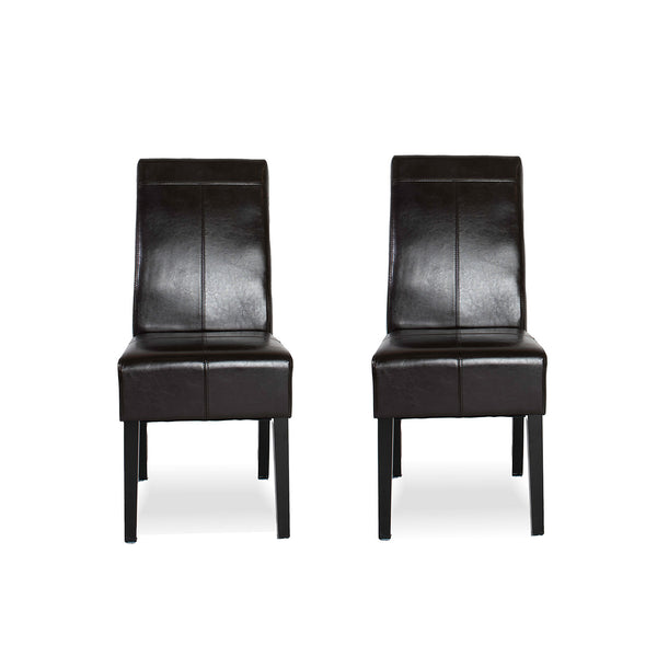 Leather High Back Dining Chair- Brown (set of 2)