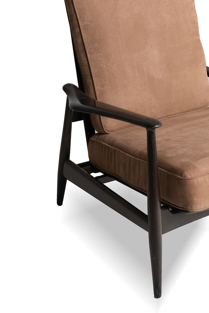 Accent Chair Brown Suede