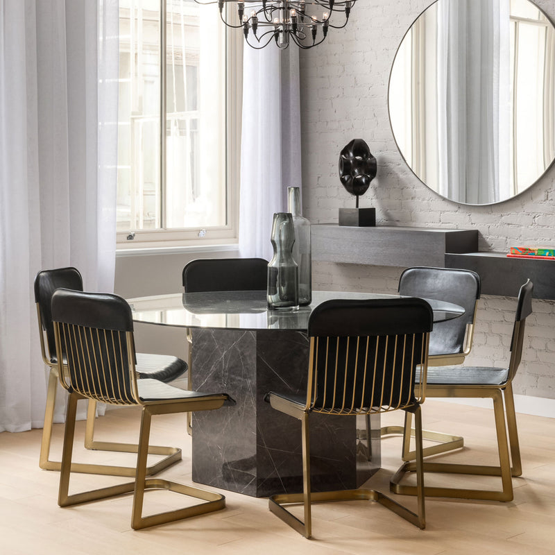 Rake brass chair dining room