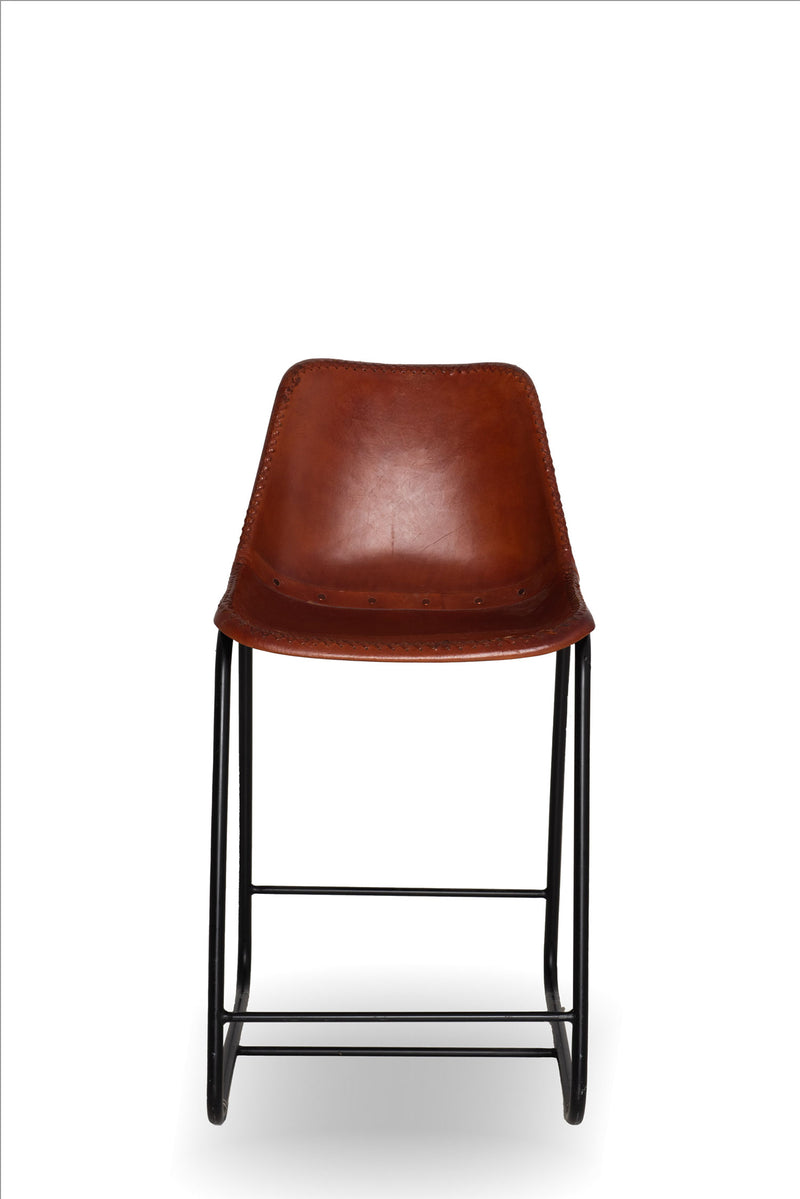 Chestnut Leather Stool x 4