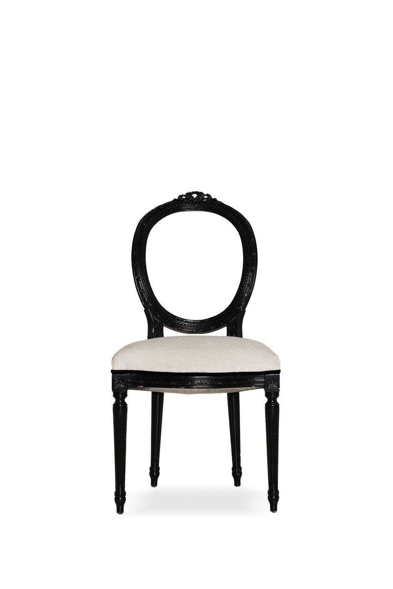 Black Frame White Fabric Chair