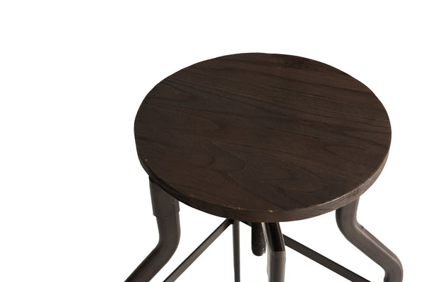 4  Dark Wood Sculptural Stools