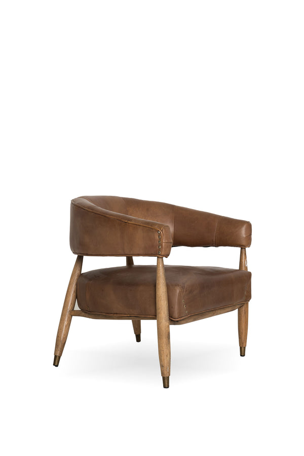 Barrel Back Lounge Chair, Brown Leather