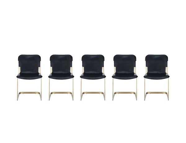 Rake Brass Chairs- Black Leather (set of 5)
