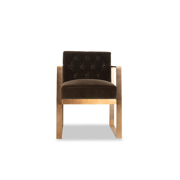 Tamela chair- Brown/Antique Brass