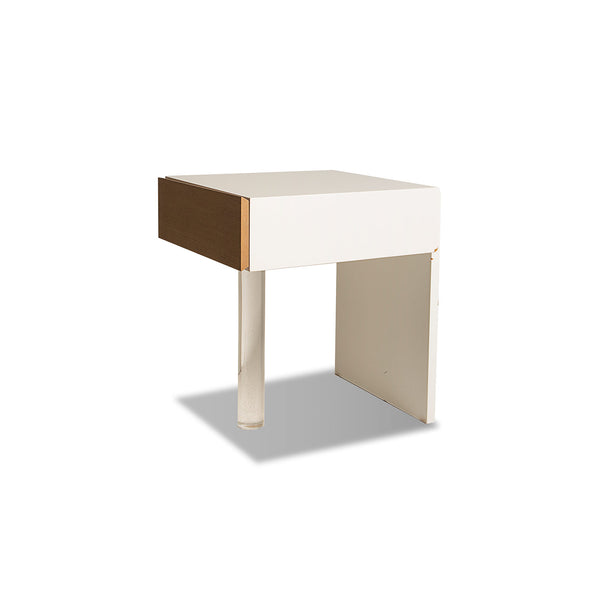 NEW: Acrylic Pedestal- White/Walnut side table