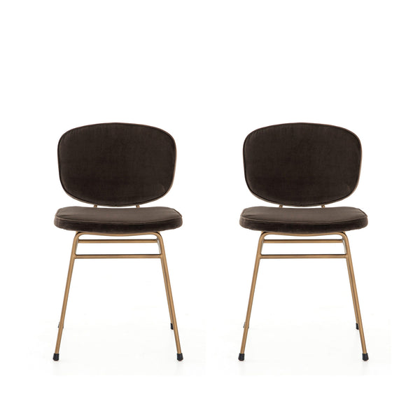 Jayden- Velvet Brown Chairs (set of 2)