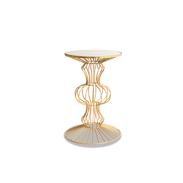 NEW: Modern Metal Caged- Brass side table