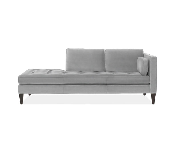 Hutton Chaise Daybed- Silver Chenille