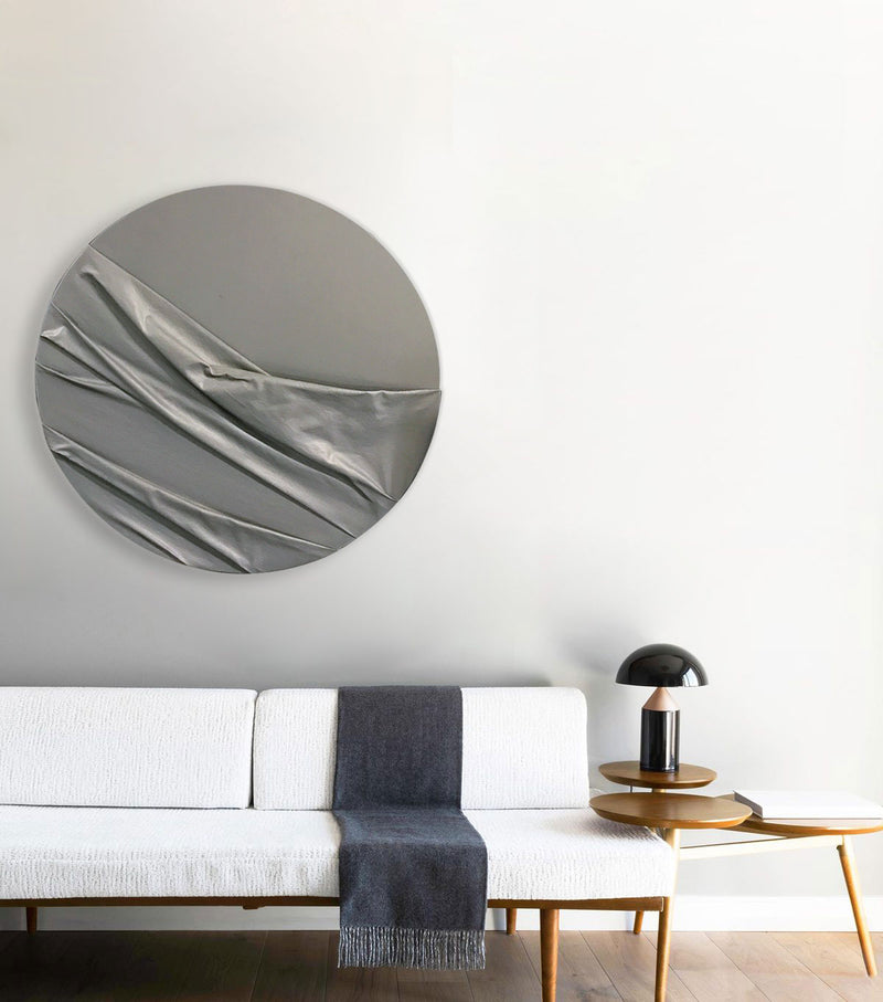 Circle Wave Wall Sculpture in Charcoal