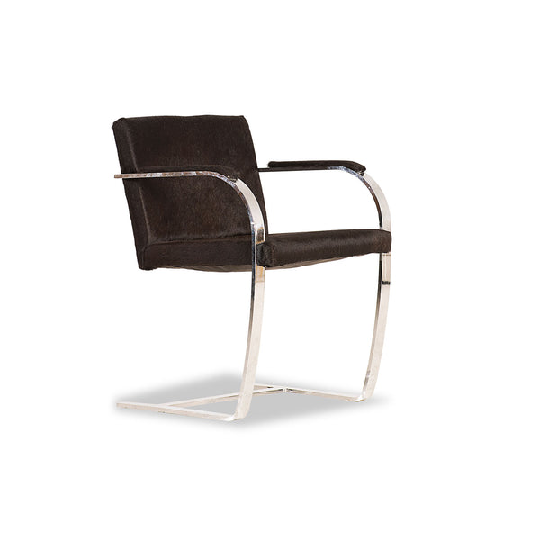 Black Cowhide Armed Dining Chair