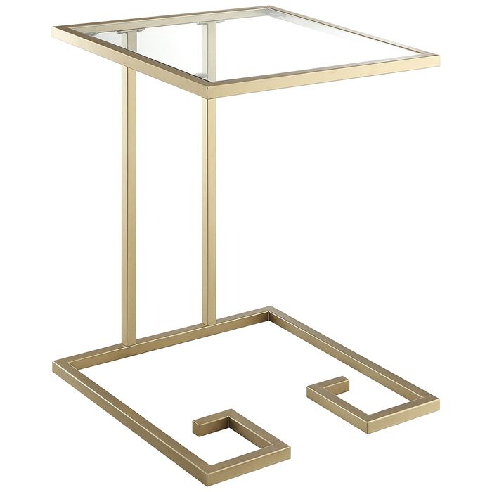 Greek Key Glass C Side Table- Gold