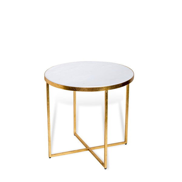 Levi Side Table- Gold/White Stone