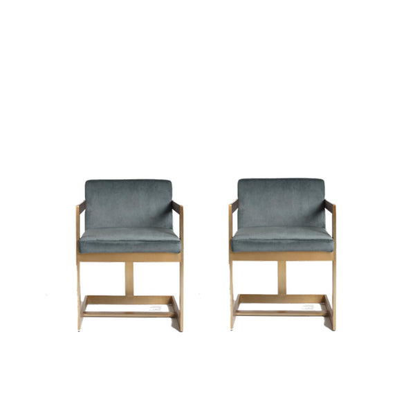 Kiera Chairs- Charcoal/Gold (set of 2)