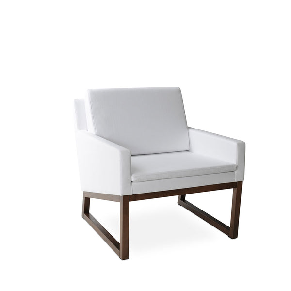 Nova Wood chair- White Leatherette