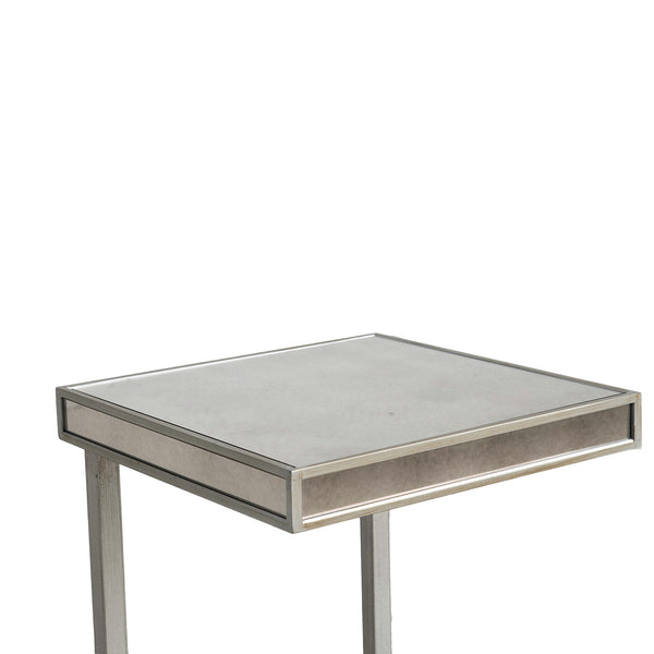 NEW: Mirrored Chrome C Side Table- Silver