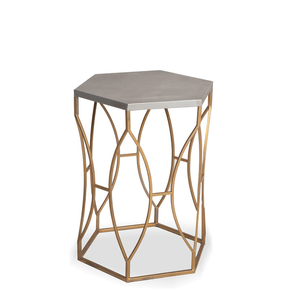 NEW: Geo Base Hexagon Side- Brushed Brass/Grey