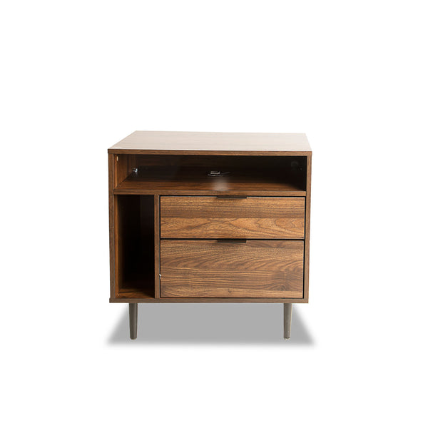 Wood Nightstand, w/ two drawers & side storage