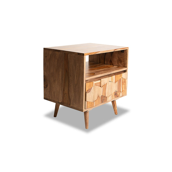 NEW: O2 Retro Geo- Walnut nightstand