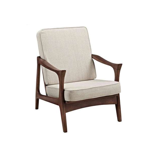 Paddle Arm chair- Beige/Walnut