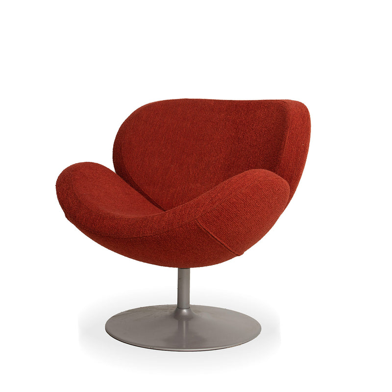Mid Century Tulip Base Accent Chair  - Red