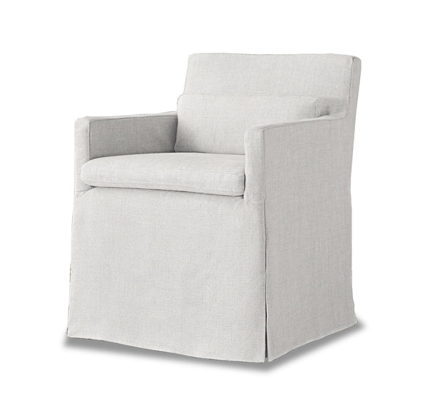 Track Arm Slipcovered Armchair- Belgian Linen White