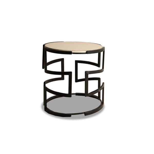 NEW: Round Geometric-Black/White side table