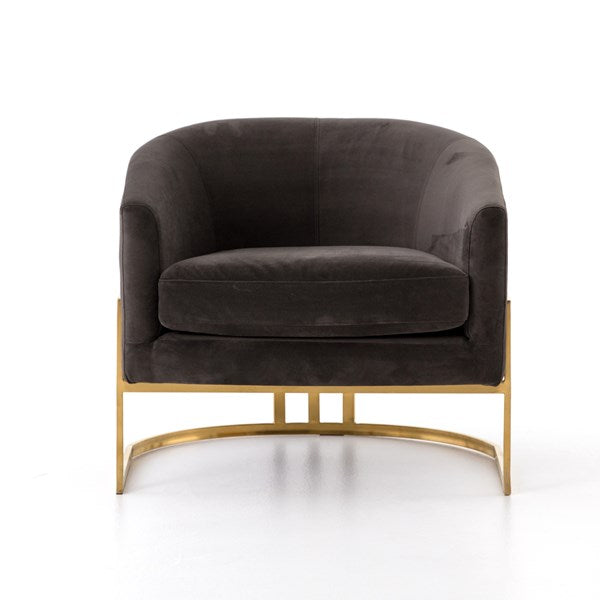 Corbin lounge chair- Bella Smoke/Satin Brass