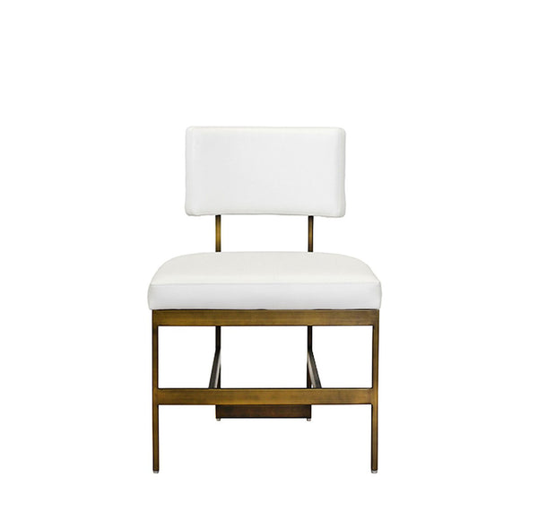Shaw Chair- White/Antique Brass