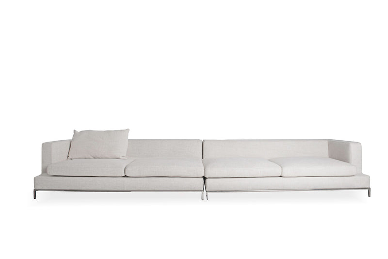 Simena Sectional Sofa, Cream Tweed