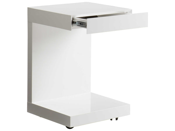 Ikon Bachelor W/ Drawer side table- White Gloss