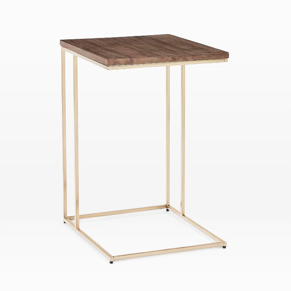 Streamline C- Dark Walnut/Antique Brass side table