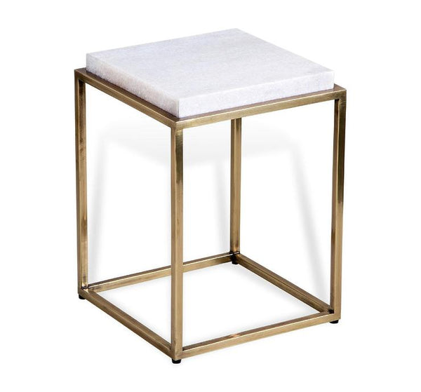 Ritz- White Marble/Gold side table