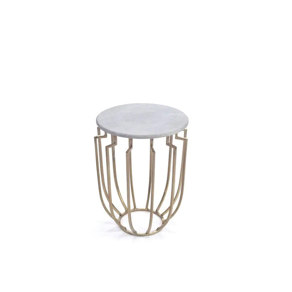 Hogan- White Marble/Brass side table
