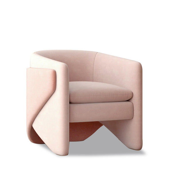 Thea Chair, Worn Velvet, Light Pink West Elm