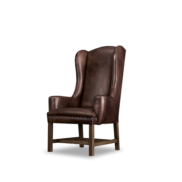 Belfort Wingback Chair- Walnut Leather