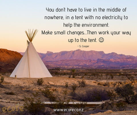 You don't have to live in the middle of nowhere, in a tent with no electricity to help the environment. Make small changes...Then work your way up to the tent. - S. Cooper