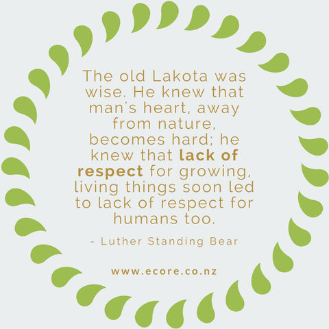 The old Lakota was wise. He knew that man's heart, away from nature, becomes hard; He knew that lack of respect for growing, living things soon led to lack of respect for humans too. - Luther Standing Bear