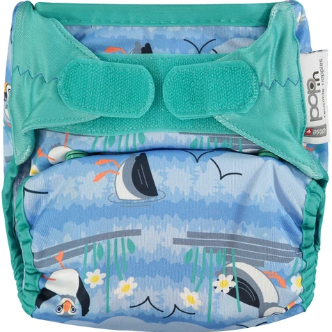 Pop-in Reusable Nappy - Bamboo - Blue Puffin - Bio Laminate