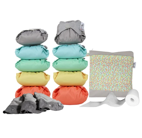 Pop In Reusable Nappies Medium Box - Bamboo Pastels
