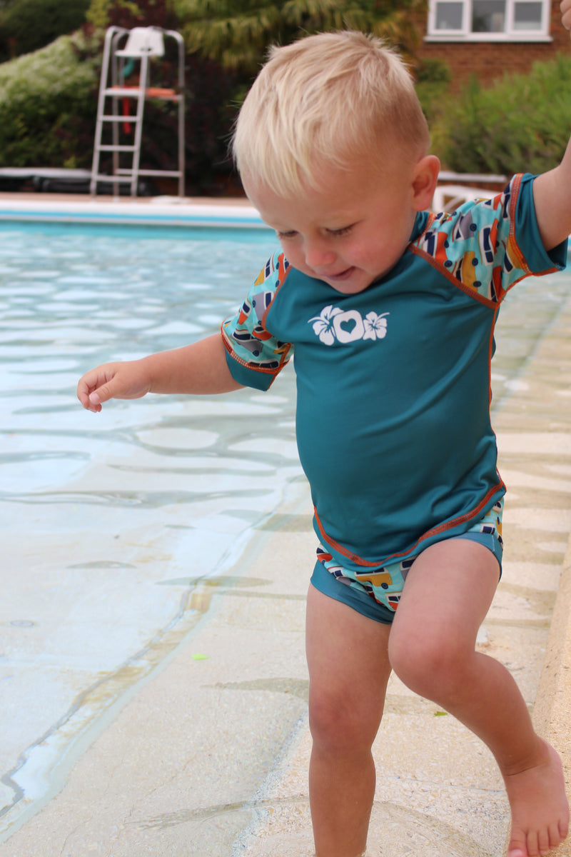 Pop-In Swimming Nappy - Green Campervan