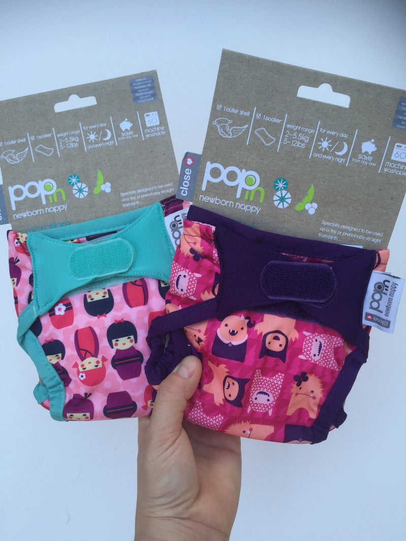 Pop-In Reusable Nappies - Newborn PRINTED GIRLS Pack