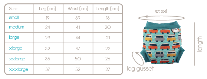 swim nappy sizing guide
